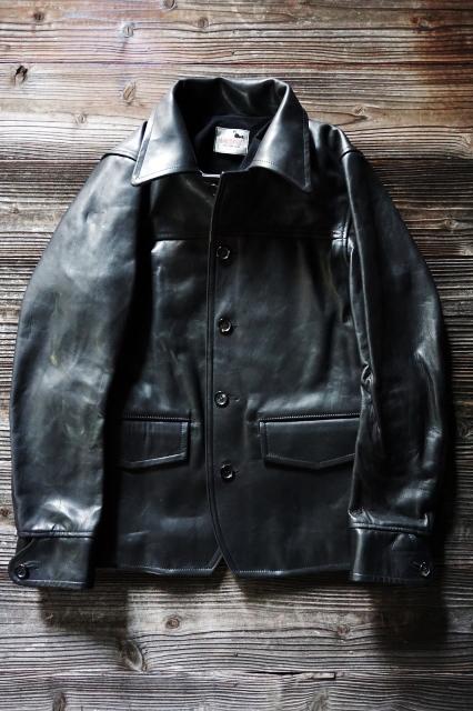 GANGSTERVILLE 30'S CAR COAT - HORSE HIDE BLACK